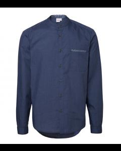 Blå herre mao skjorte med kontrasts