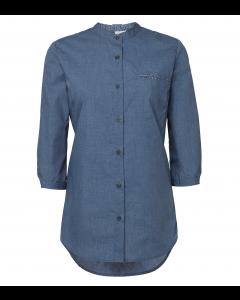 Blå dame mao skjorte med kontrasts 3/4ærmet