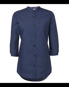 JeansBlå dame mao skjorte med kontrasts 3/4ærmet
