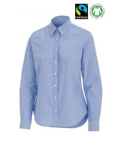 Fairtrade Organic bomulds dameskjorte -slimfit - Lys blå