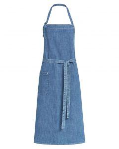 Lyse blå denim stretch forklæde med lomme