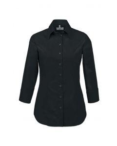 3/4ærmet Dame stretch skjorte Regular Fit Sort