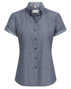 Kortærmet dameskjorte med blomst kontrast design