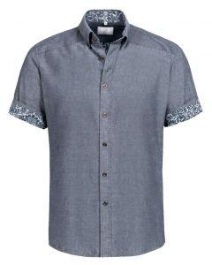 Kortærmet skjorte til mænd med blomst kontrast design