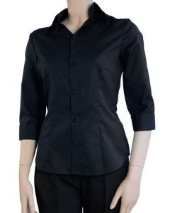 Sort 3/4 ærmet dameskjorte - figursyet