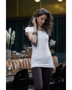 Dame fashion V-hals t-shirt - Ekstra lang sort eller hvid