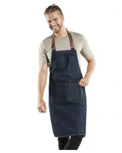 Blå denim forklæde med læderstrop