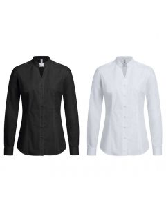 Stretch dameskjorte med stand-up krave. Valg i sort eller hvid