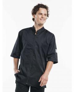 Monza zipper kokkejakke -kortærmet, sort