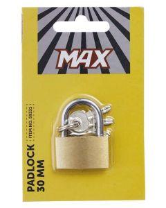 Messing MAX hængelås 30mm med 3 nøgler