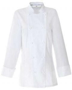 Hvid klassisk dame kokkejakke 100%bomuld -Restsalg