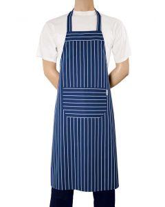 Blå og hvidstribet forklæde