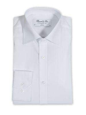 Hvid unisex skjorte med langeærmer - restsalg