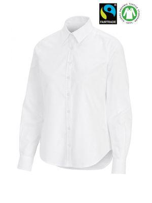 Fairtrade Organic bomulds dameskjorte -slimfit - Hvid