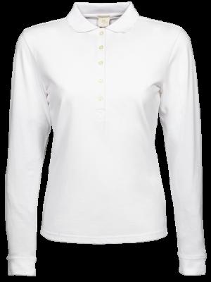 Stretch damepolo trøje med lange ærmer -sort ell. hvid