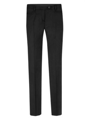 Lav talje damebukser med stretch - cigarformet, sort, restlager str 34