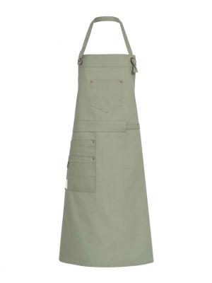 Oliven grønt farvet canvas forklæde m. lommer 'Fairtrade og genbrugs materiale'