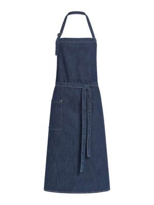 Blå denim stretch forklæde med lomme