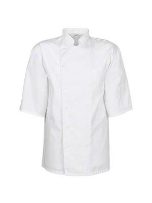 Hvid unisex kortærmet kokkejakke