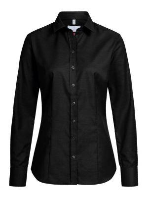 Sort stretch dameskjorte Regular Fit - eksklusiv 'Modern 37.5'