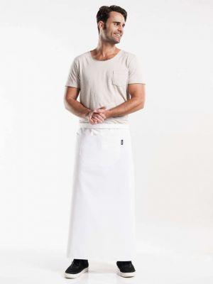 Hvidt forstykke 100cm langt med en stor lomme BSX - UDGÃ…R
