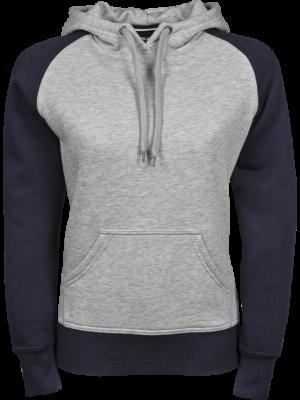 Dame hoodie to tonet Navy/grå model