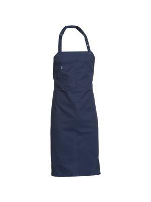 Navy kokkeforklæde med brystlomme 89cm langt