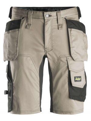 Khaki farvede AllroundWork, stretch shorts med hylsterlommer