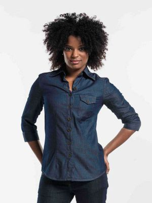 Denim stretch dameskjorte Regular Fit -chaud devant