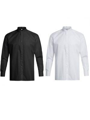 Stretch skjorte til mænd med stand-up krave - Valg i sort og hvid