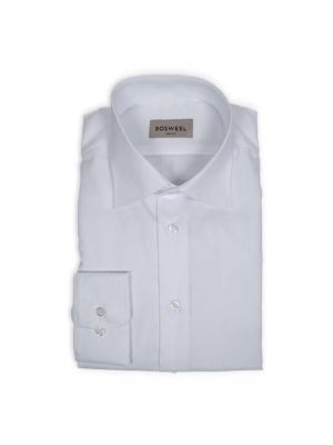 Body Cut Bomulds struktur skjorte - Hvid