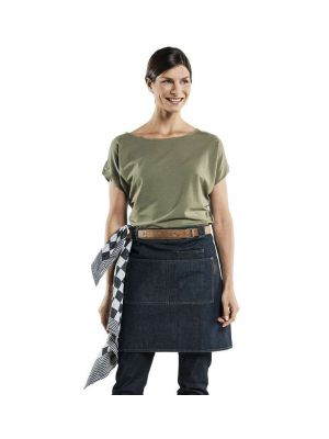 Blå - denim forstykke med lommer og læder stropper 'Forene'