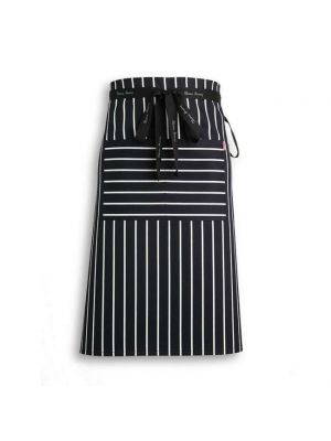 Navy stribet stof forstykke med lomme - Oliver