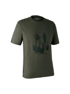 T-shirt med Skjold Bark Green Deerhunter