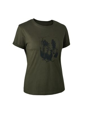 Lady T-shirt med Deerhunter skjold Bark Green Deerhunter