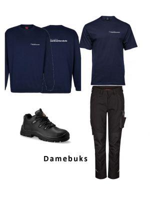 DAME Industri arbejdstøj sort pakke m. sikkerhedssko- DJH