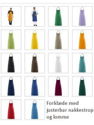 Forklæde med lomme 100cm L (Valg i 16 farver)