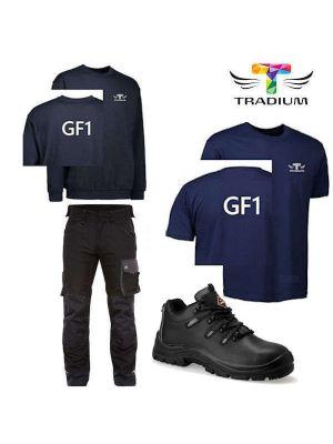 TEK Værkstedsbeklædnings pakke m. sikkerhedssko og Galaxy sorte bukser- GF1