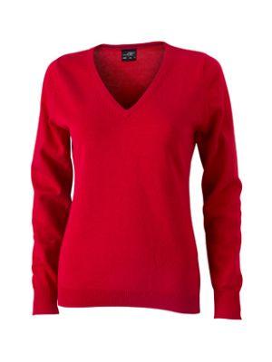 Dame pullover langærmet -Rød
