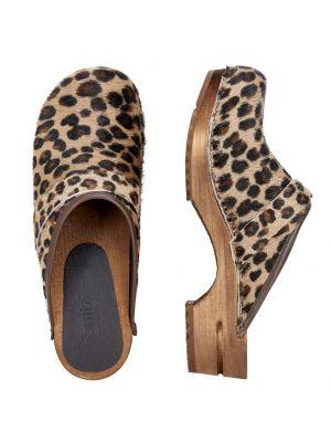 Caroline træsko i leopard printet ko skind