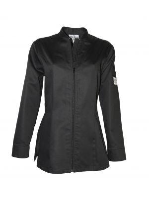 Monza sort damejakke med lynlås