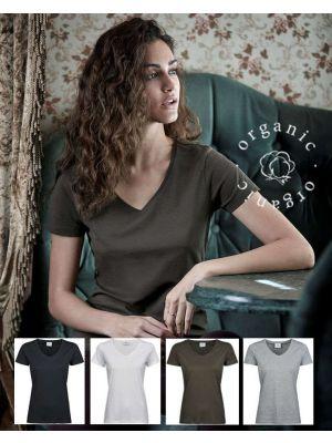 Organisk Luksus Dame Jersey t-shirt - V-hals