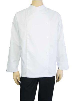 Langærmet komfort hvid kokkejakke