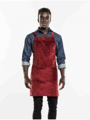 Rødt velvet cross fløjels forklæde m. lomme