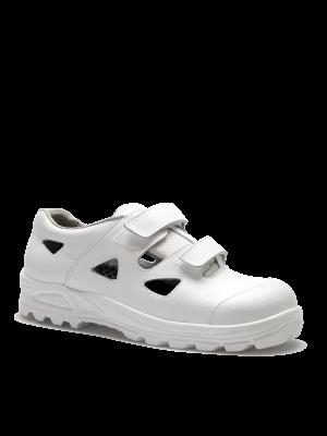 Hvid San Food S1 sandal med velcro- tåværn og skridsikre